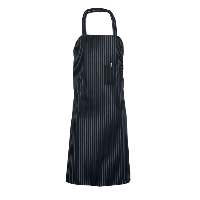 A3154-Bib Apron, Pinstripe, 38x38, Pencil Pocket