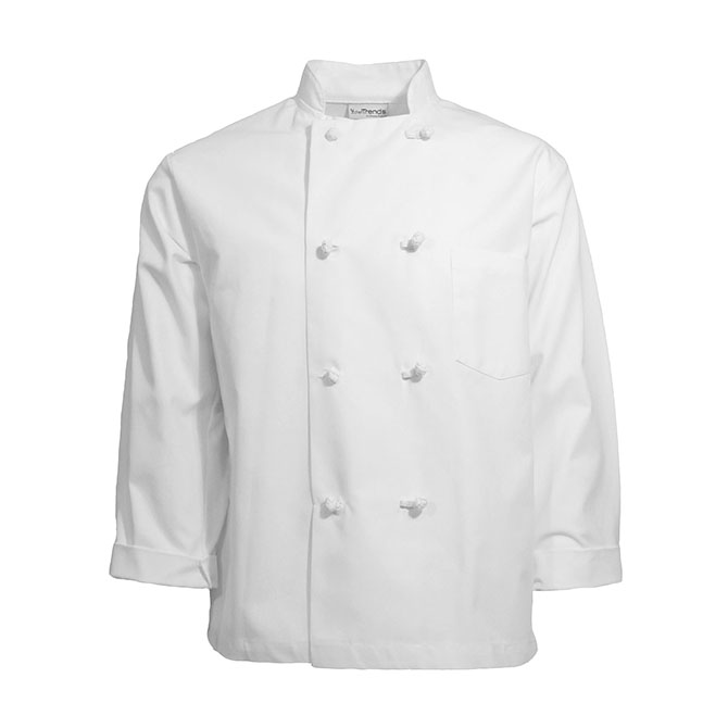 C128-Chef Coat, Blend, 8 Knot Buttons, No Arm Pocket
