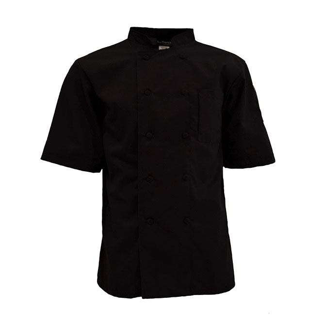 C301-Mesh Back Chef Coat, Half Sleeves, 10 buttons, Spun Poly