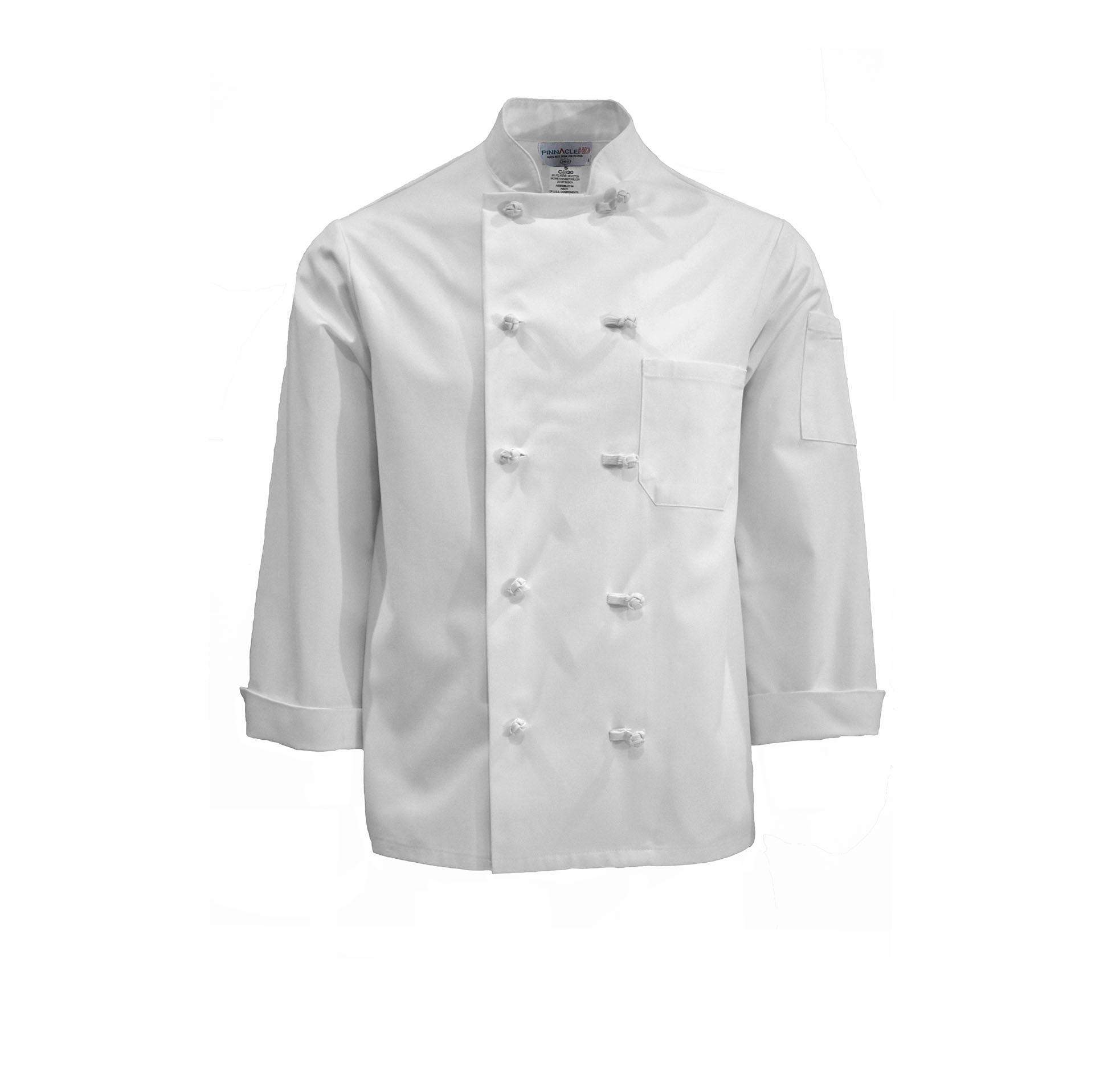 C330-Chef Coat, 10 Knot Buttons, Spun Poly
