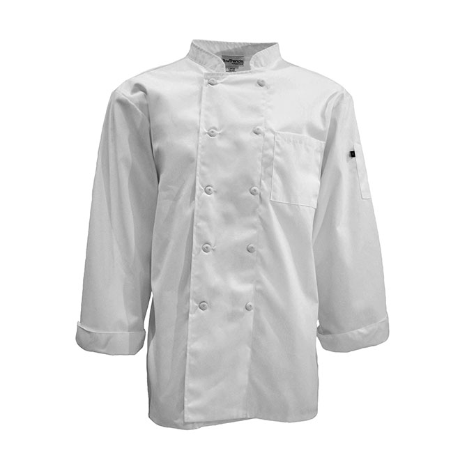 C350-Mesh Back Chef Coat, Full Sleeves, 10 buttons, Spun Poly