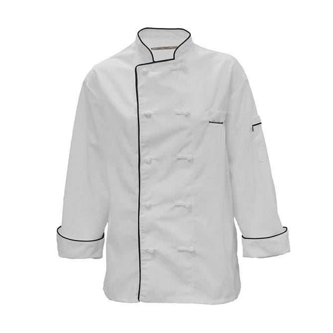 C355-Chef Coat, Black Piping, 10 Knot Buttons