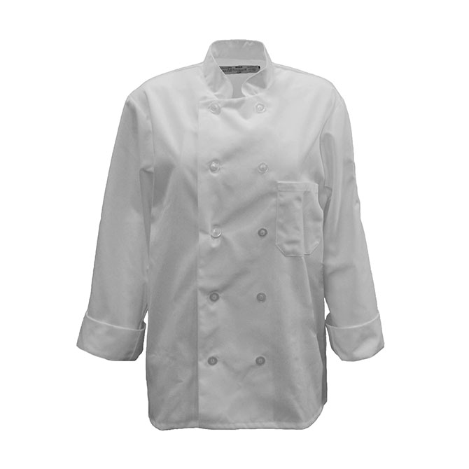 C390 - Chef Coat, 10 Pearl Buttons, Spun Poly