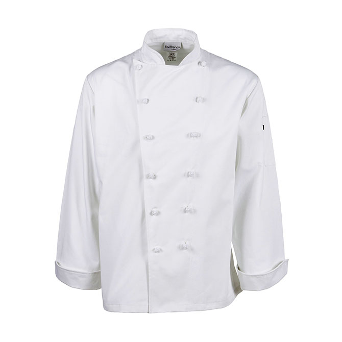C435-Executive Chef Coat, French Cut, Knot Buttons
