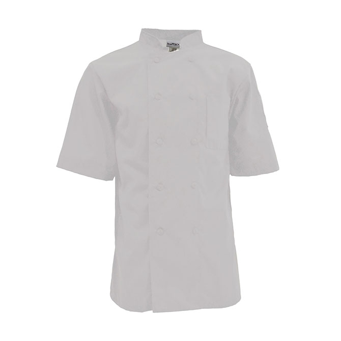 C501-Mesh Back Chef Coat, Half Sleeves, 10 Buttons Ring Spun Poplin