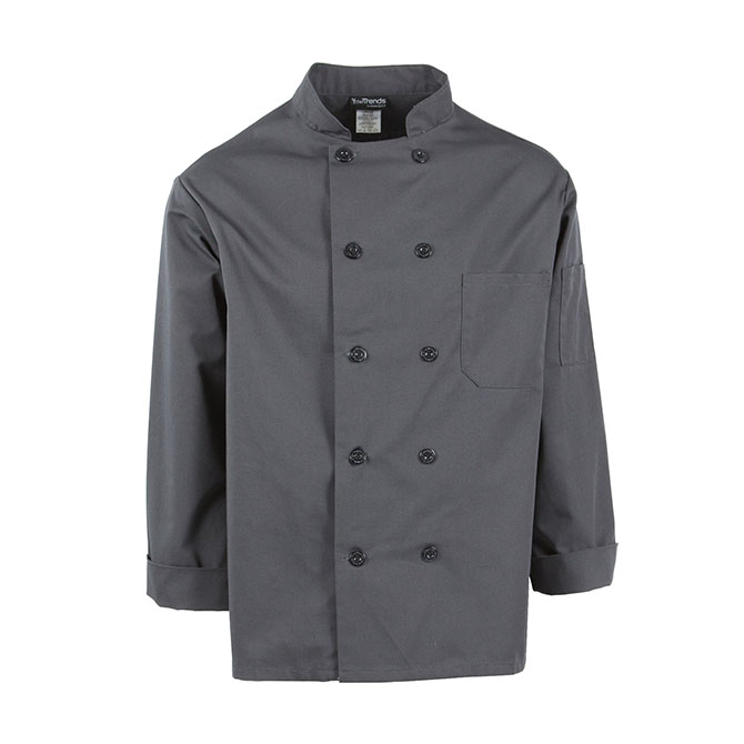 C810-Chef Coat, Long Sleeves, 10 Buttons, Plus Blend