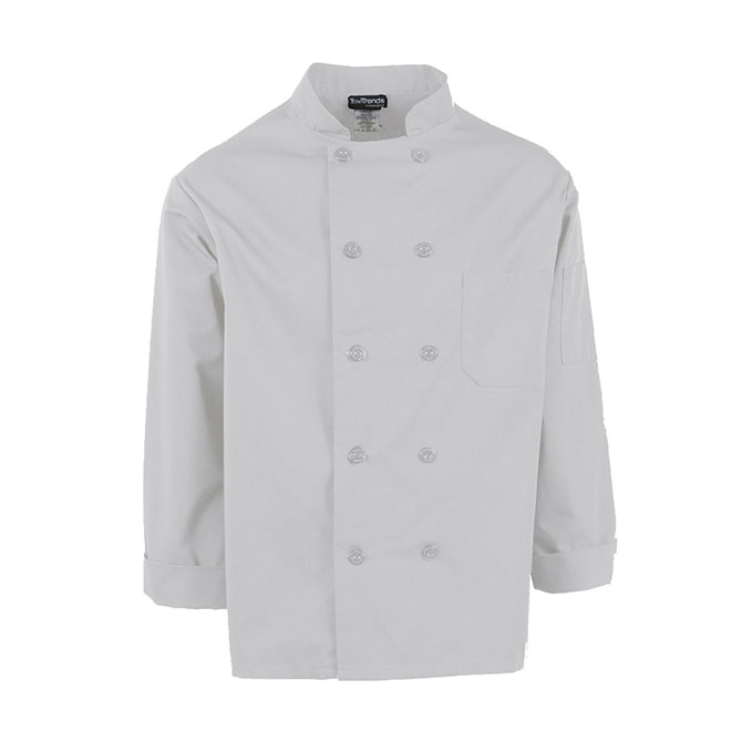 C810 LONG-Chef Coat, Plus Blend, 10 Buttons, Full Sleeves