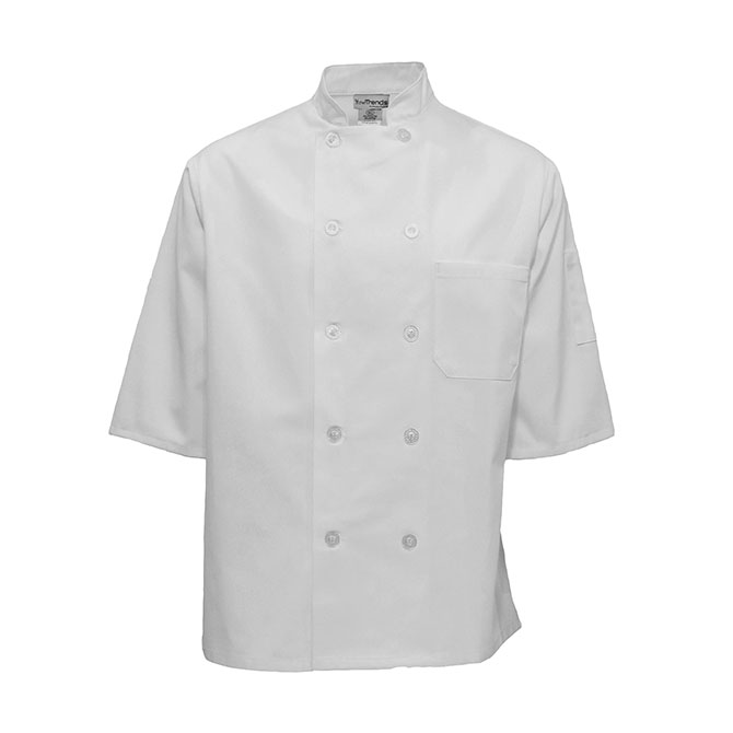 C812-Chef Coat, Half Sleeve, 10 Buttons, Plus Blend