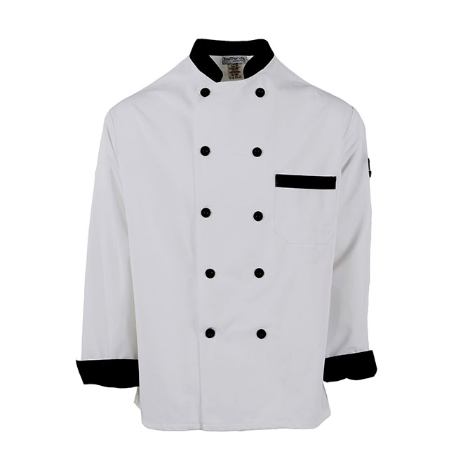 C325-Chef Coat, Black Trim, 10 Black Buttons, Spun