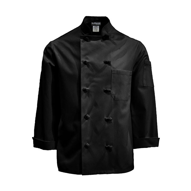 C830 LONG-Chef Coat, Knot Buttons, Plus Blend, Full Sleeves