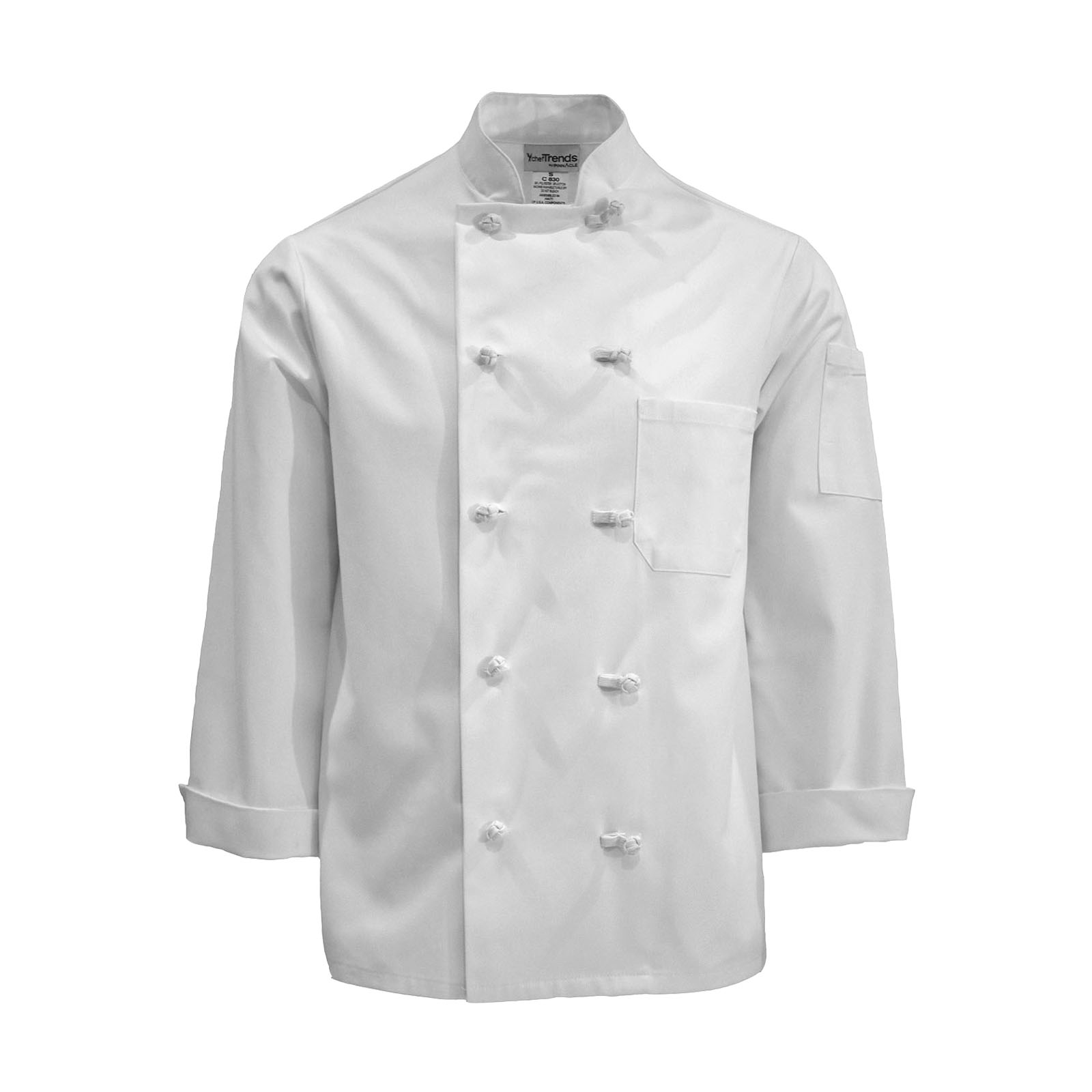 C830-Chef Coat, Knot Buttons, Plus Blend, Full Sleeves
