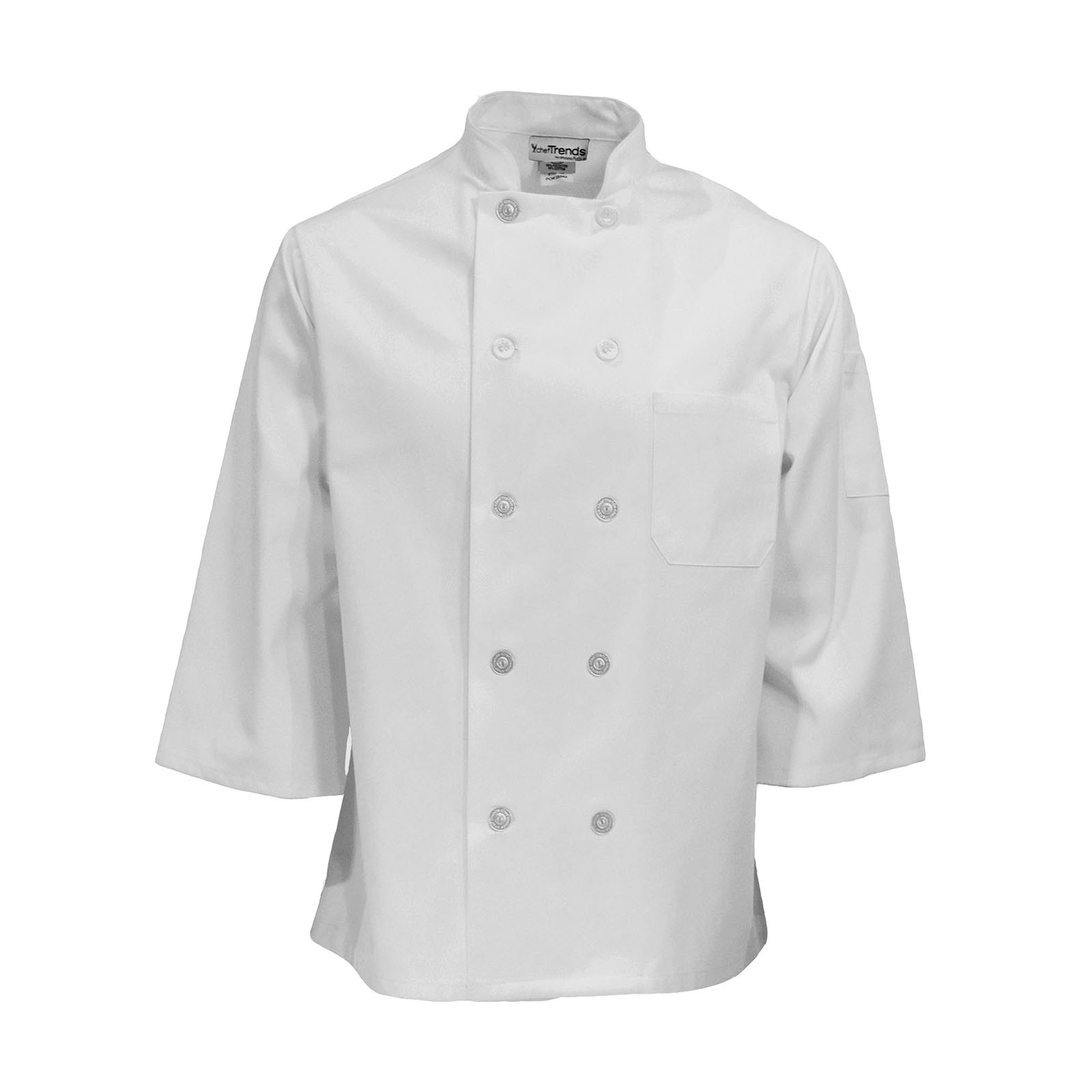 C834-Chef Coat, 3/4 Sleeves, Plus Blend, 10 Buttons