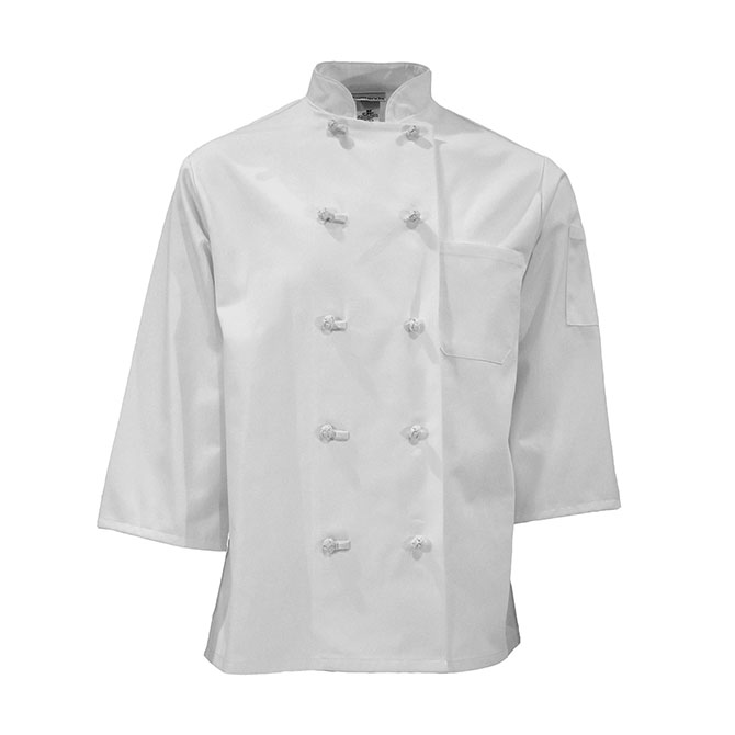 C837-Chef Coat, 3/4 Sleeves, Plus Blend, 10 Knots
