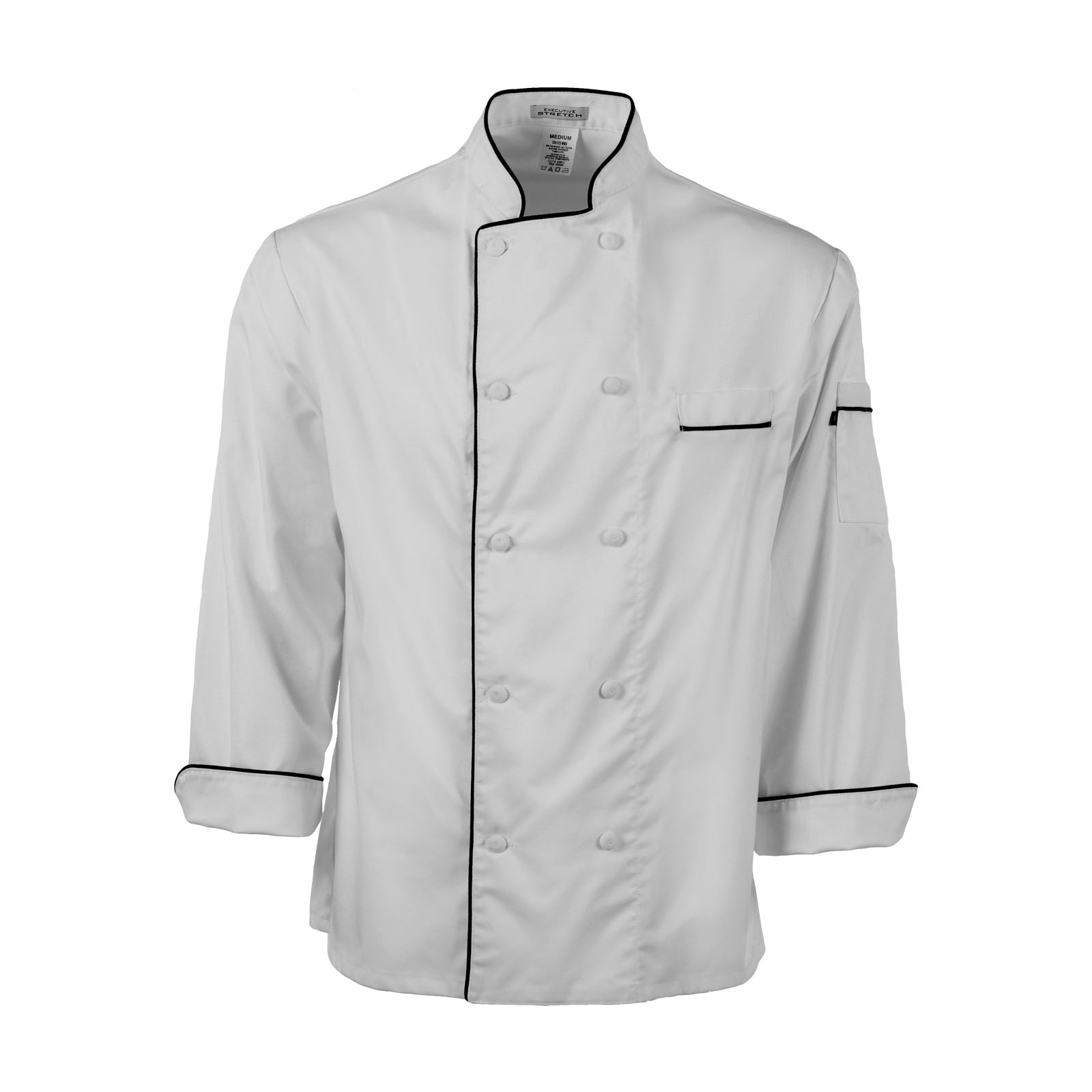 C851S-Executive Stretch Master Chef Coat, Piping