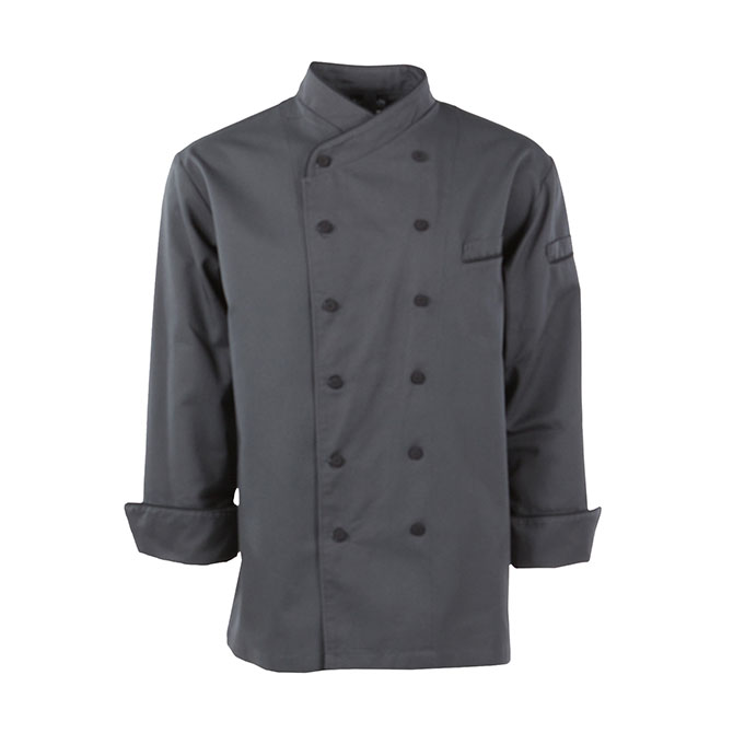 C896-Crossover Collar Chef Coat, Mesh and Piping