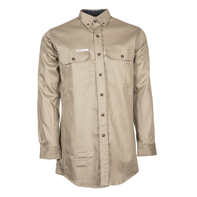 CS05-22750 (TA) 88/12 Cotton/Nylon Blend Long Sleeve Flame Resistant Button Front Shirt with Accent Colors