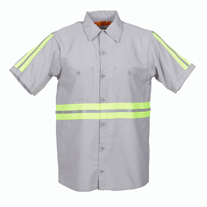 S12EN - 65/35 Enhanced Visibility Men's Short Sleeve Industrial Work Shirt