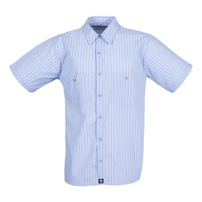 S12CH STRIPED-Industrial Men's Shirt, Short Sleeves, 65/35