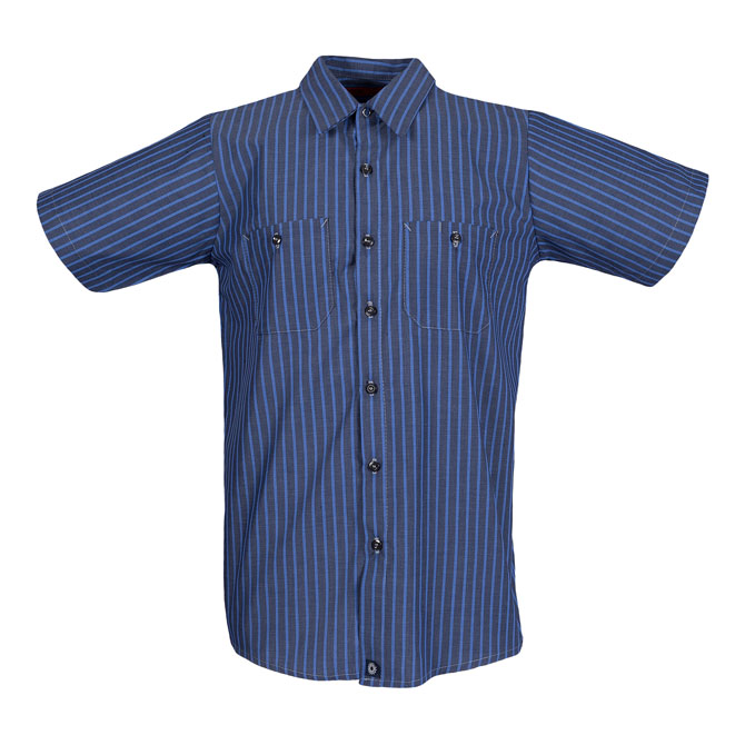 S12EXC STRIPED-Industrial Men's Shirt, Short Sleeves, 65/35