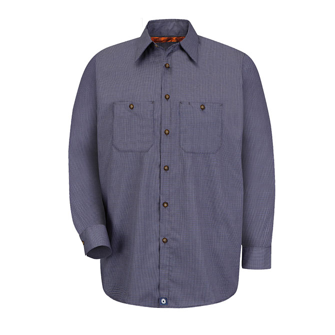S24-BC (Blue/Charcoal Check) 65/35 Men's Long Sleeve Microcheck Industrial Work Shirt