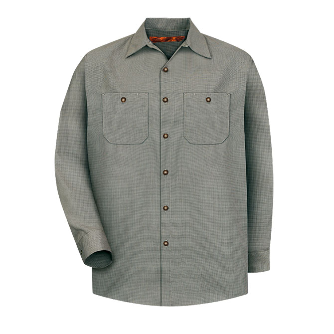 S24-HK (Hunter Green/Khaki Check) 65/35 Men's Long Sleeve Microcheck Industrial Work Shirt