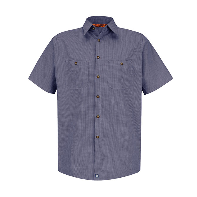 S26-BC (Blue/Charcoal Check) 65/35 Men's Short Sleeve Microcheck Industrial Work Shirt