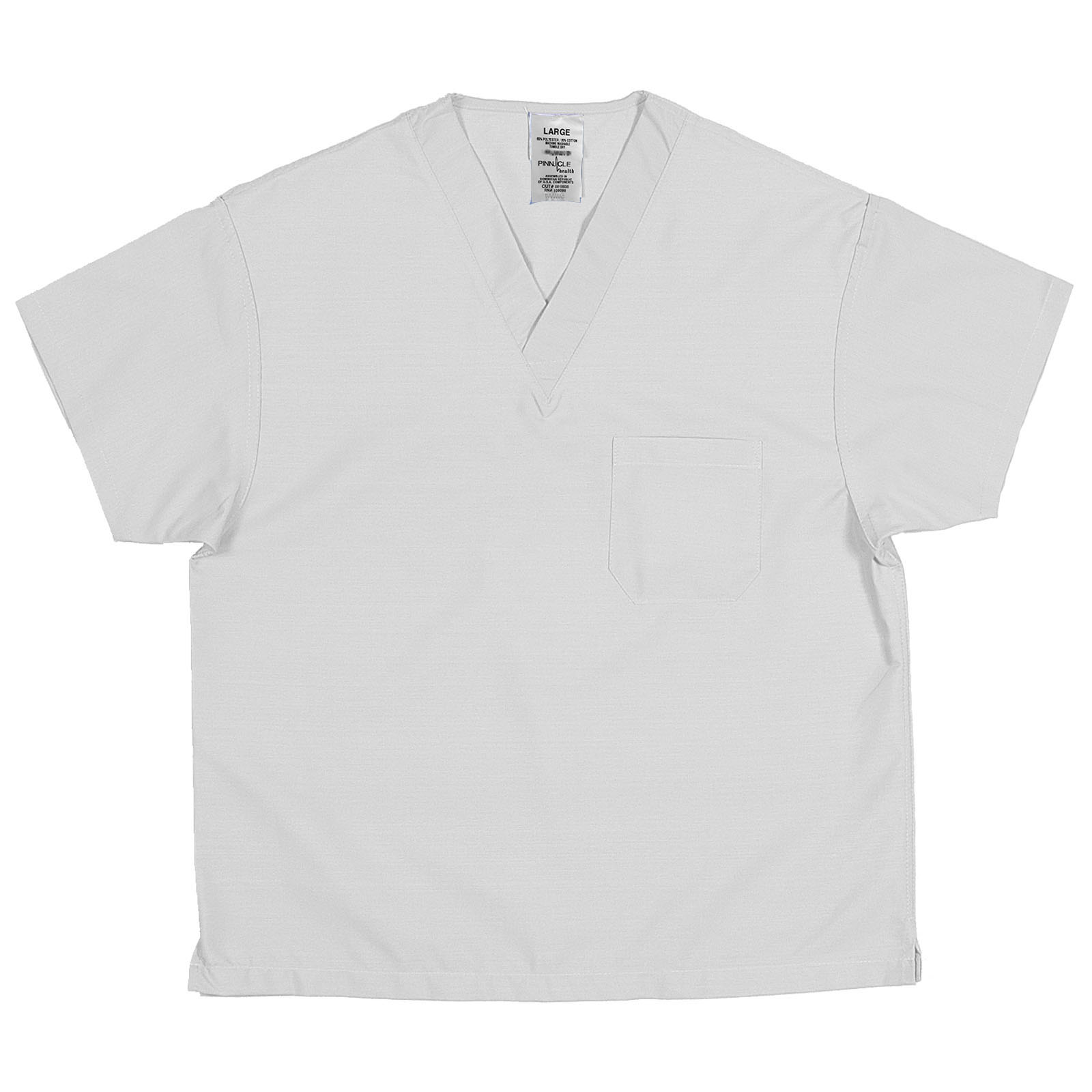 SSVNRDC - 65/35, White, Poly/Cotton Poplin V-Neck Top
