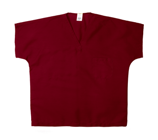 ST60U Burgundy - 65/35 Poly/Cotton Poplin V-Neck Scrub Top