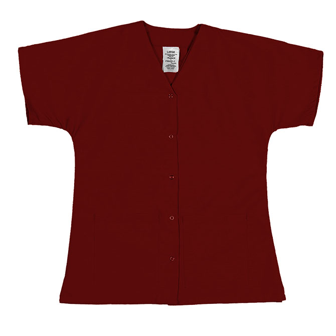 ST64F Red - Scrub Tunic Top, Female, Gripper Front