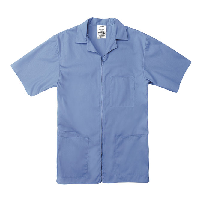 SZ15CB-Professional Zip-Front Shirt, 65/35 Poplin