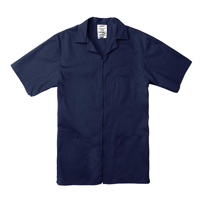 SZ15NV-Professional Zip-Front Shirt, 65/35 Poplin