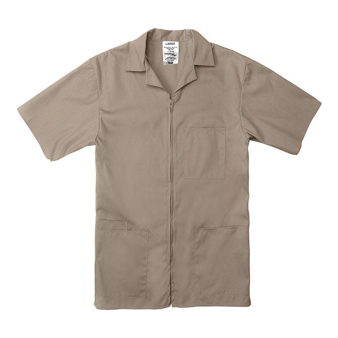 SZ15TA-Professional Zip-Front Shirt, 65/35 Poplin