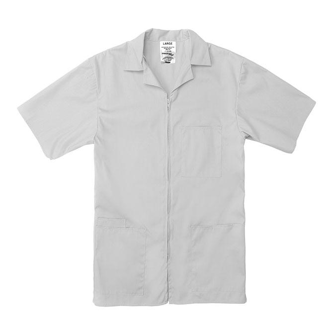 SZ15WH-Professional Zip-Front Shirt, 65/35 Poplin